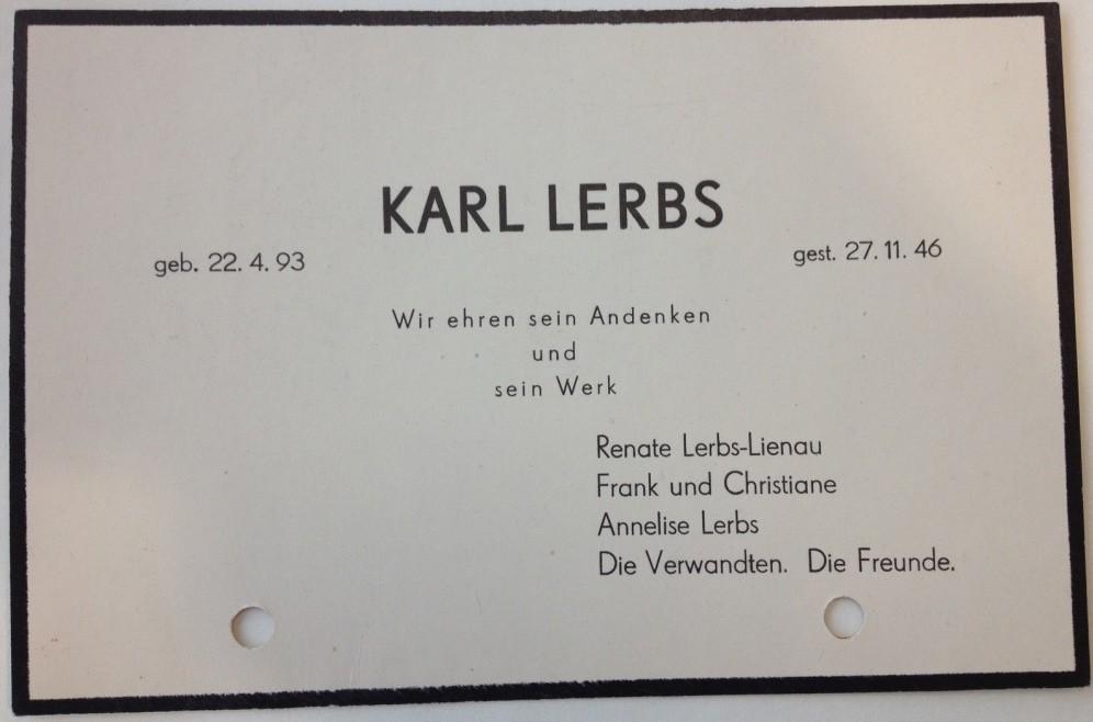 Der Schlusspunkt: Todesanzeige von Karl Lerbs. Quelle: Staats- und Universitätsbibliothek Bremen