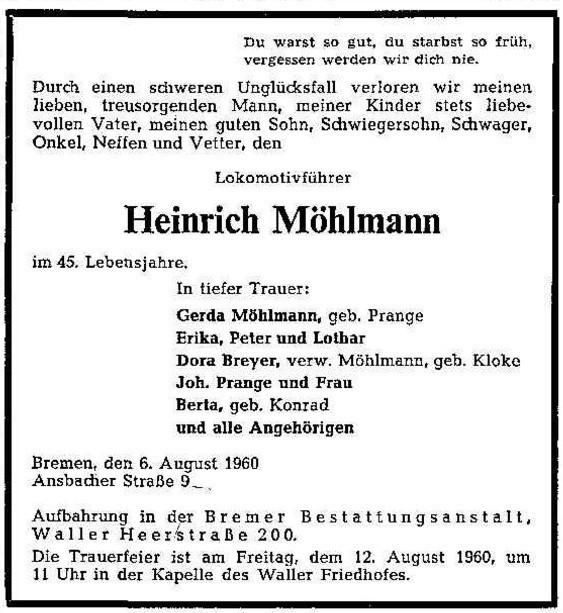 Ließ sein Leben: der Lokomotivführer Heinrich Möhlmann. Quelle: Archiv des Weser-Kuriers