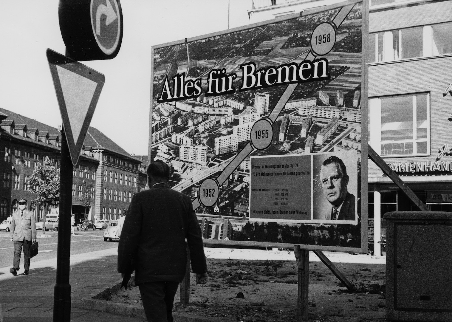 So ging moderner Wahlkampf 1959: die Verdienste hervorheben, auf den Parteinamen verzichten. Bildvorlage: Staatsarchiv Bremen