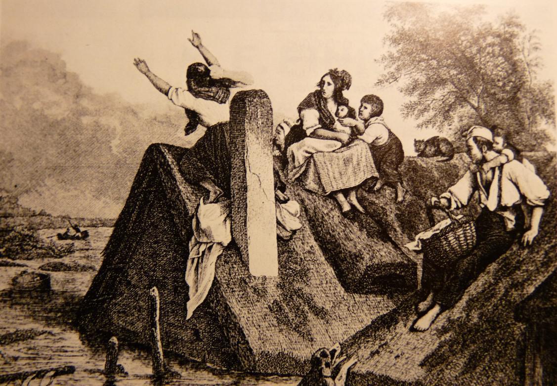 Letzte Rettung: Bei der Überschwemmung von 1841 flüchten Bewohner am Buntentorsteinweg auf die Hausdächer. Quelle: Staatsarchiv Bremen