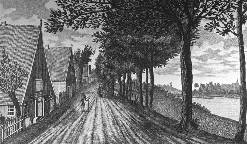 Niedrige Katen hinterm Deich: die Heimat von Georg Droste am Eisenradsdeich, heute Osterdeich. Quelle: Wikicommons