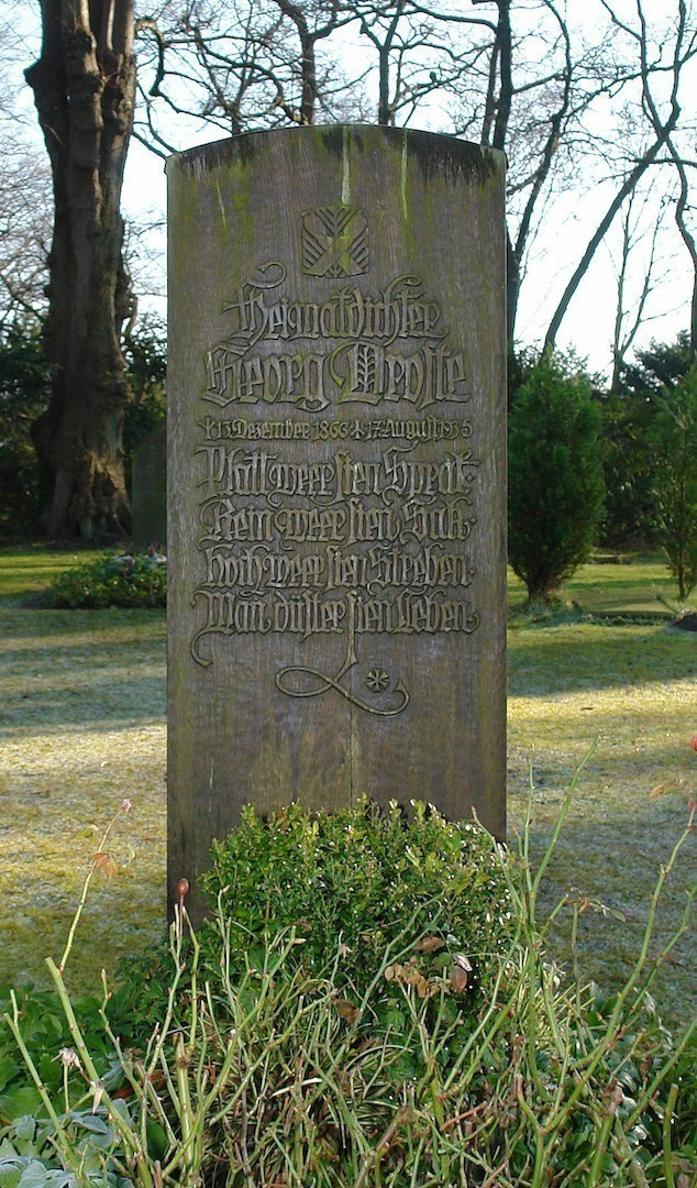 Letzte Ruhe auf dem Osterholzer Friedhof: Grabstein von Georg Droste. Foto: Wikicommons/Jürgen Hohwaldt