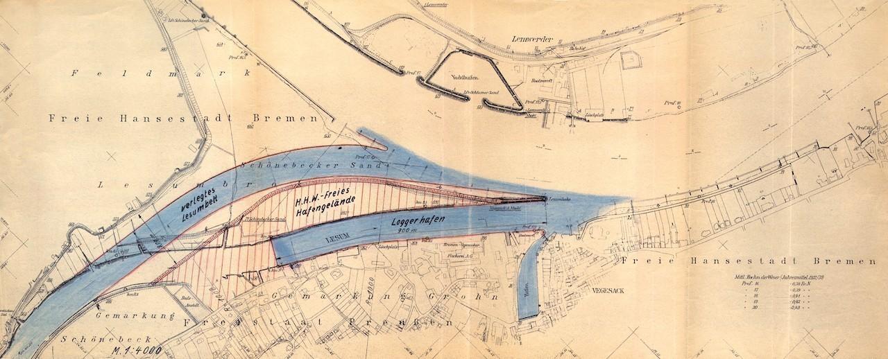 Große Pläne: Für die Heringslogger-Flotte sollte in der NS-Zeit ein neuer Hafen in Vegesack gebaut werden. Quelle: Hafenamt Bremen/Bearbeitung: Agentur Pillnick