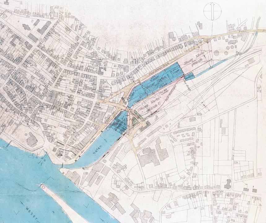 Der letzte Erweiterungsplan von 1942: Diesmal soll das Hafenareal bis in den Bereich des heutigen Stadions verlängert werden. Quelle: Hafenamt Bremen/Bearbeitung: Agentur Pillnick