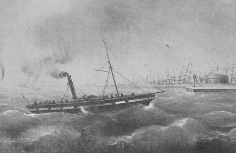 """Friedrich Engels war an Bord: das Dampfschiff """"Roland"""", gebaut 1839, vor Bremerhaven. Quelle: Focke-Museum Bremen"""