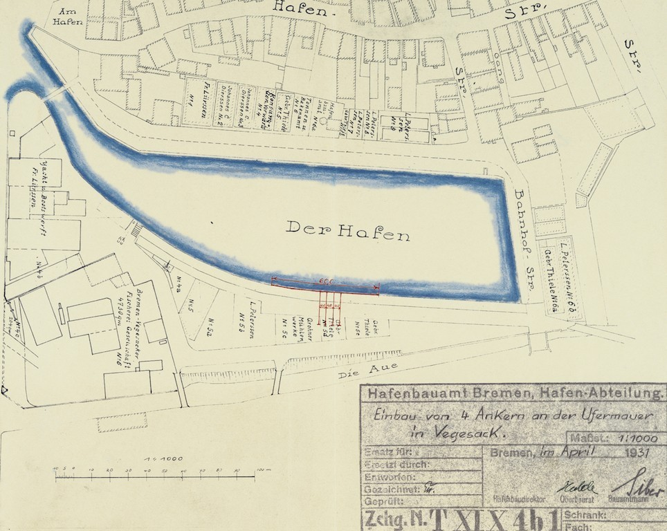 Schon mal ein Plan: der Stand der Gedankenspiele 1931. Quelle: Hafenamt Bremen/Bearbeitung: Agentur Pillnick