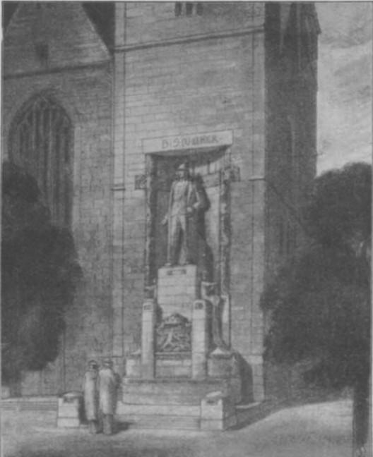 gezeichneter Entwurf eines Bismarck-Denkmals am Bremer Dom